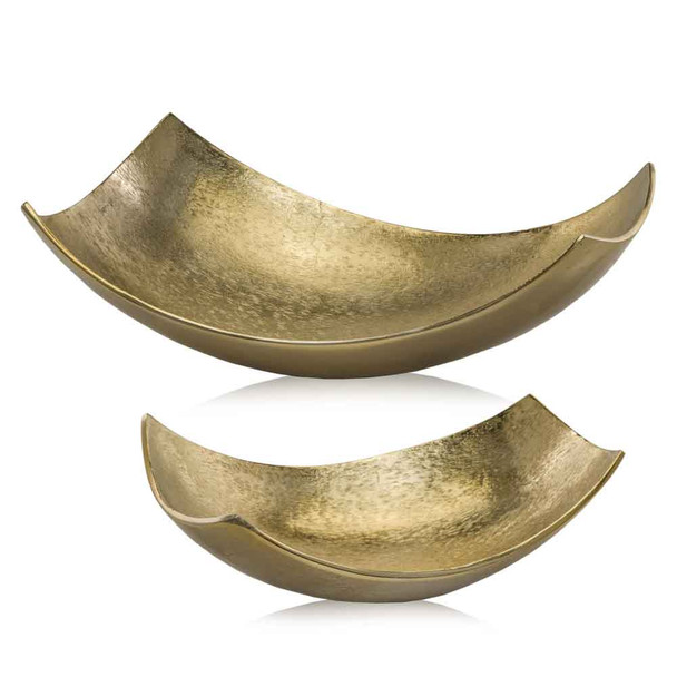 """9.75"""" x 17"""" x 5.5"""" Brushed Gold, Large Scoop Bowl"""
