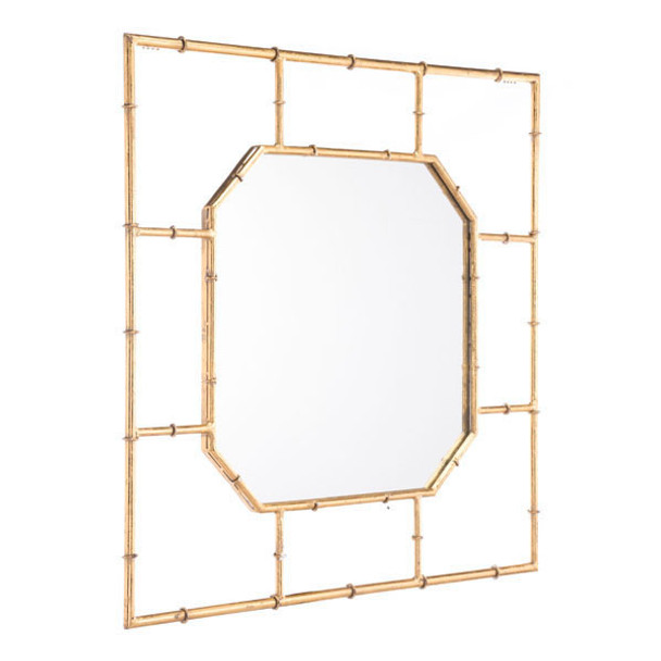 "26.2"" X 1"" X 26.2"" Gold Bamboo Square Mirror"