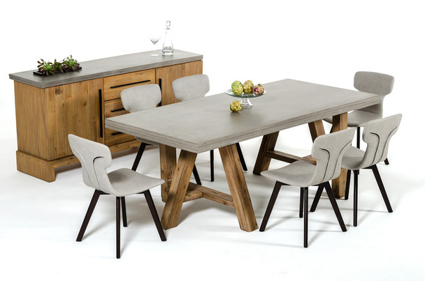 """30"""" Concrete and Solid Acacia Wood Dining Table"""
