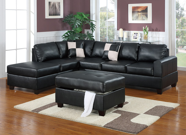 Bonded Leather 3 Piece Sectional Sofa With Ottoman In Black