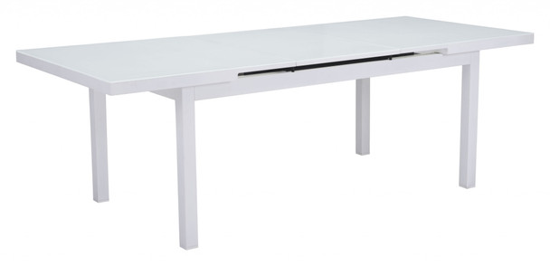 """70.5"""" x 39.5"""" x 29.5"""" White, Tempered Glass, Aluminum, Dining Table"""