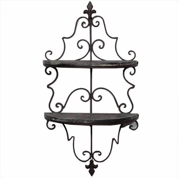 Elegantly Decorative Metal And Wooden Wall Shelf, Black