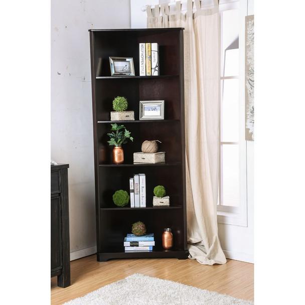 Five Shelves Solid Wood Corner Bookshelf, Dark Walnut Brown
