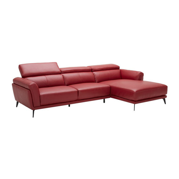 Leatherette Upholstered Wooden Sectional with Right Facing Chaise, Red, Set of Two