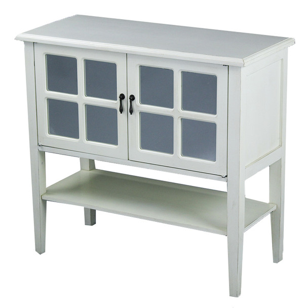 """30"""" Antique White Wood Clear Glass Console Cabinet with a Shelf and 2 Doors - 291829"""