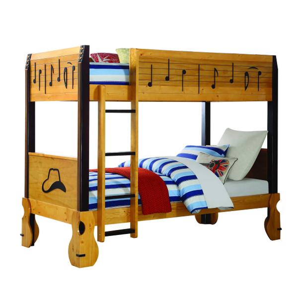 "43"" X 82"" X 67"" Honey Oak Espresso Wood Twin/Twin Bunk Bed"