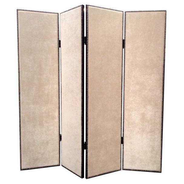4 Panel Foldable Fabric Screen with Nailhead Trims, Beige and Black