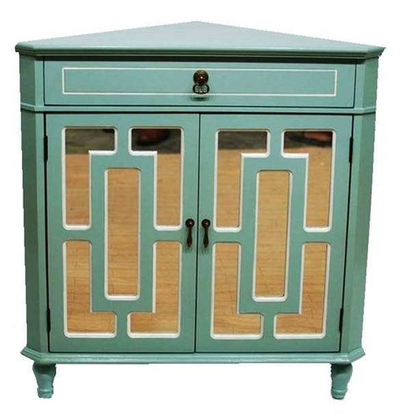 """32"""" Light Blue Wood Mirrored Glass Corner Cabinet with a Drawer and 2 Doors - 291932"""