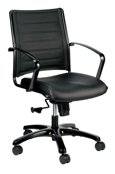 "22"" x 25.5"" x 41.5"" Black Leather Chair"