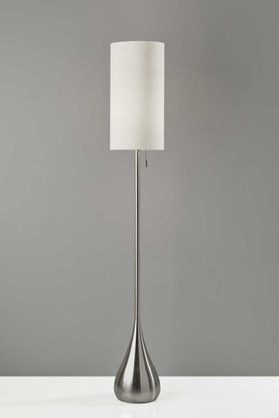 "10"" X 10"" X 68"" Brushed Steel Metal Floor Lamp"