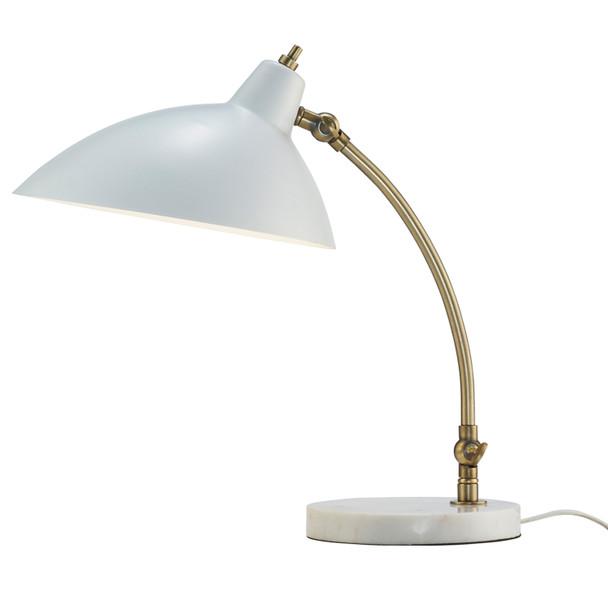 """10.5"""" X 15-18.5"""" X 15-18"""" White Metal Desk Lamp"""