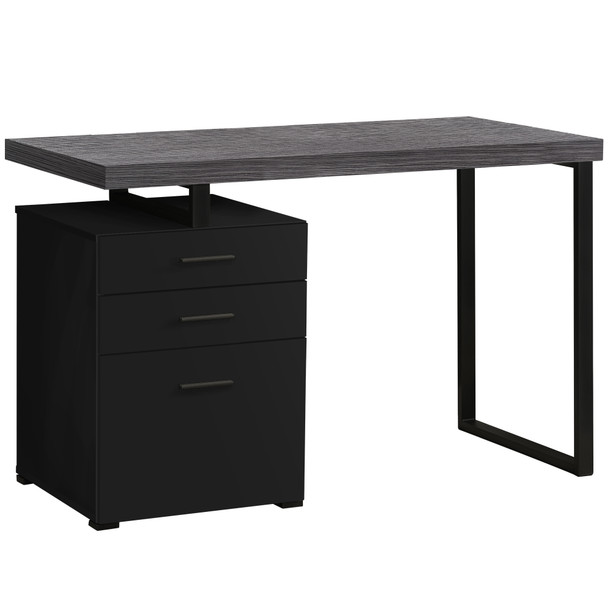 "23.75"" x 47.25"" x 30"" Black, Grey, Particle Board, Hollow-Core, Metal, - Computer Desk"