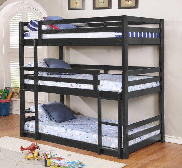 """79'.5"""" X 41'.75"""" X 76'.75"""" Charcoal Solid Wood Twin Triple Bunk Bed"""