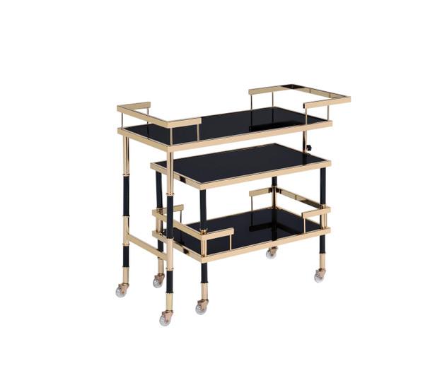 "16"" X 36"" X 34"" Gold Black Smoky Glass Metal Casters Serving Cart"