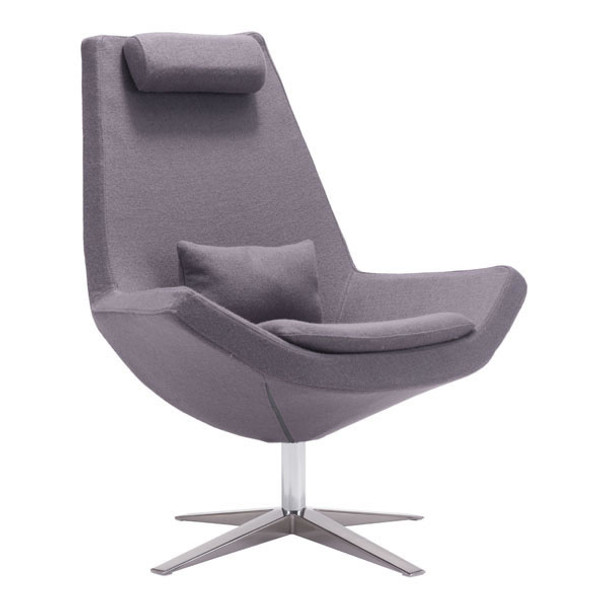 """35"""" X 32.3"""" X 40.6"""" Charcoal Gray Polyblend Occasional Chair"""