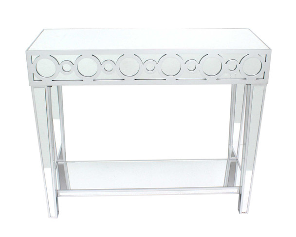 """14"""" x 40"""" x 38"""" Silver, Circles, Mirrored - Console Table"""
