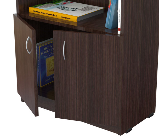 """63"""" Espresso Melamine and Engineered Wood Bookcase with a Storage Area"""