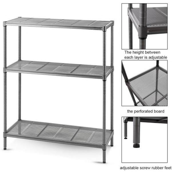 Steel Mesh Organization Home Kitchen Storage Shelf Rack-3-Tier