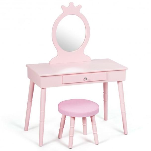 Kids Vanity Makeup Table & Chair Set Make Up Stool - COHW65928PI