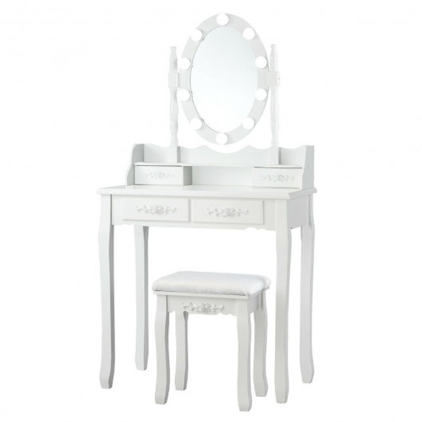 4 Drawers Vanity Table Dressing Table with Touch Switch-White