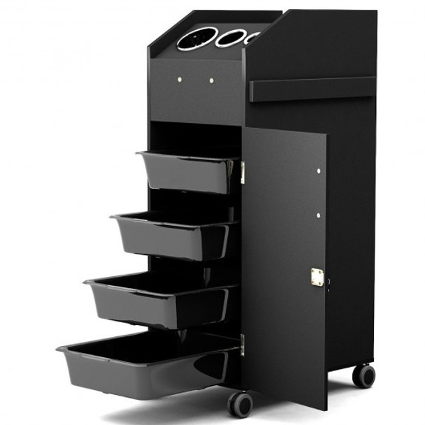 Black Salon Trolley Cart with 4 Storage Trays-Black