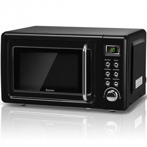 700W Glass Turntable Retro Countertop Microwave Oven-Black