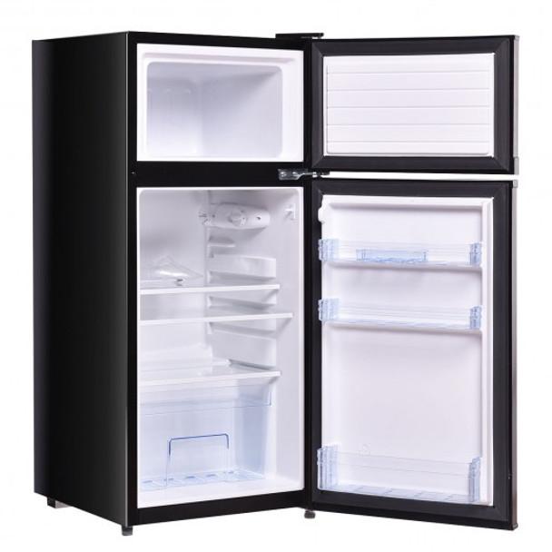 2 Doors 3.4 cu ft. Unit Stainless Steel Compact Mini Refrigerator-Black