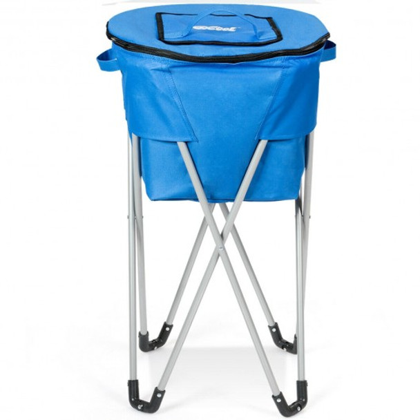 Portable Insulated Tub Party Picnic Cooler with Folding Stand-Blue