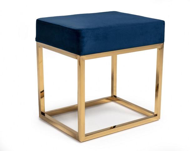 Square Modern Blue Velvet Ottoman w/ Gold Stainless Steel