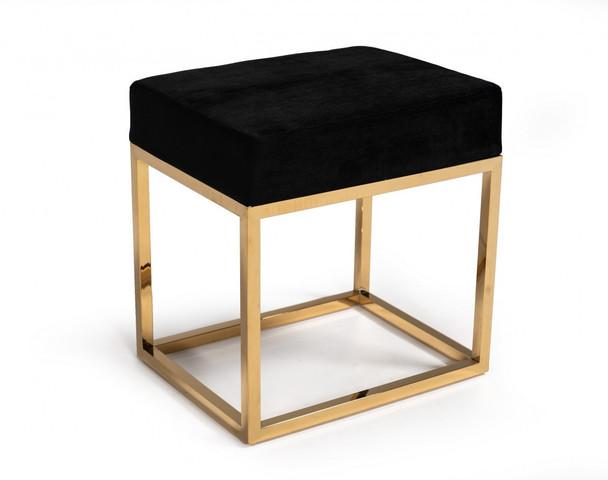 Square Modern Black Velvet Ottoman w/ Gold Stainless Steel