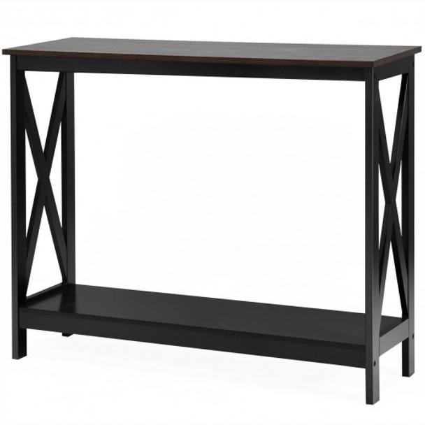 2-Tier Console X-Design Sofa Side Accent Table-Wood Grain