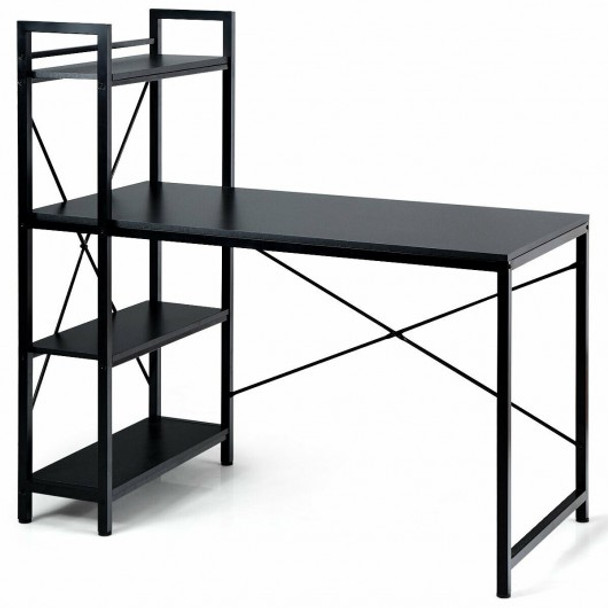 "47.5"" Writing Study Computer Desk with 4-Tier Shelves-Black"