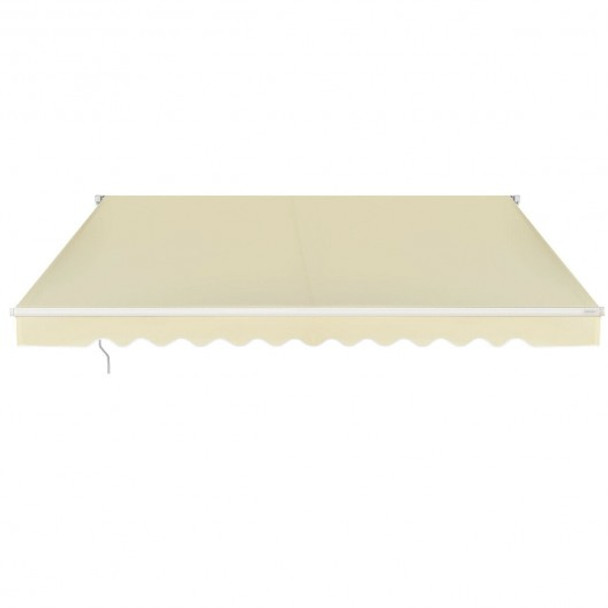 Outdoor Manual Retractable Awning Cover Shelter Patio Sun Shade-Beige