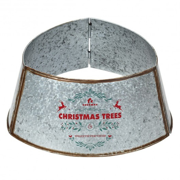 Galvanized Metal ChristmasTree Collar Skirt Ring Cover Decor-Silver