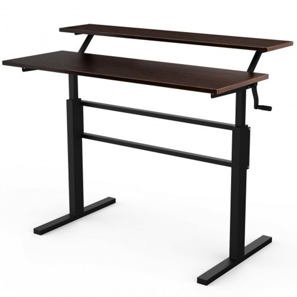 Standing Desk Crank Adjustable Sit to Stand Workstation -Brown