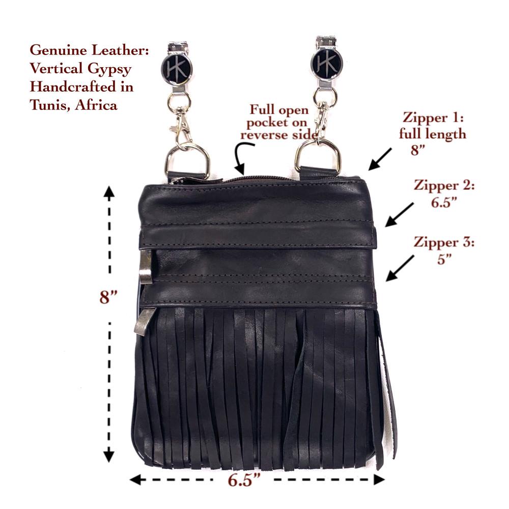 Genuine Leather Vertical Gypsy Black