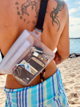 """Product Details:  Waterproof W 8.25"""" x L 5.75"""" (inside capacity) Adjustable waist/shoulder strap - 33"""" to 45"""" 3 Zip Locks and Velcro fold over closure Touch screen accessible Keep your valuables safe from water, sand, dirt, mud, etc."""