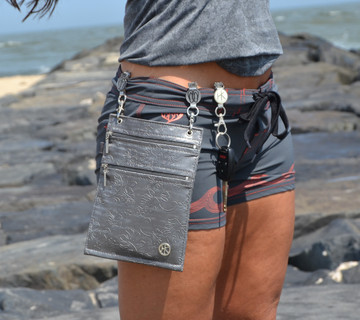 This Pocket is the perfect accessory for either travel or everyday.  Our patented Klip affixes right to the top of your pants, without the need of Belt loops,  and allows you to be hands-free while securing all of your necessities!