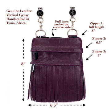 Genuine Leather Vertical Gypsy Orchid