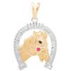 Yellow and White Gold Pendant - Horse / Horseshoe - CZ - 14 K - GP103