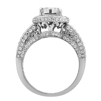 White Gold Engagement Ring with Diamonds - 59089