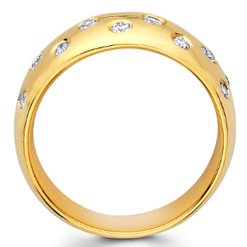 Yellow gold wedding band with diamonds - BD4-18