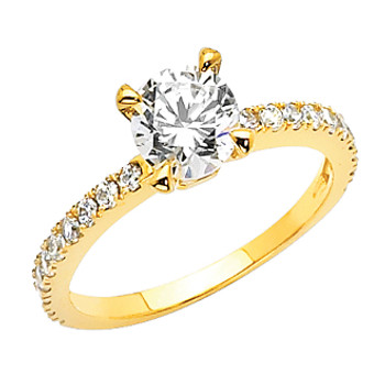 Yellow Gold Engagement Ring - 14 K.  2.8 gr - RG12