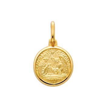 White or Yellow Gold Baptism Medal - 14 K.  1.5 gr. - PT286W