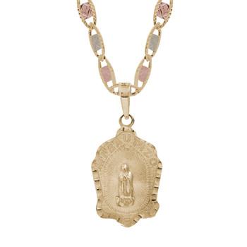 Yellow Gold Baptism Medal  - Virgin Mary - 14 K - BPT-613