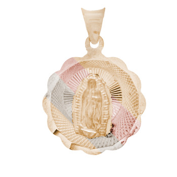 Yellow / White / Red Gold Virgin Mary Medal - 14 K - RP226
