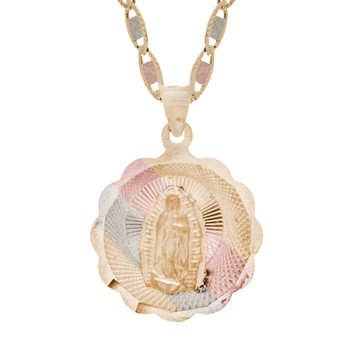 Yellow / White / Red Gold Virgin Mary Medal - 14 K - RP228