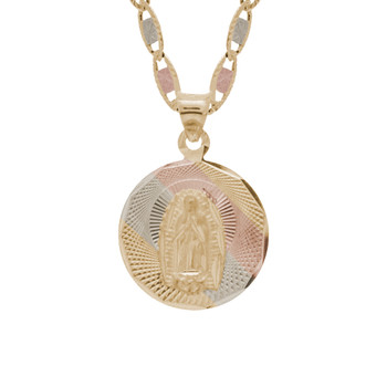 Yellow / White / Red Gold Virgin Mary Medal - 14 K - RP233