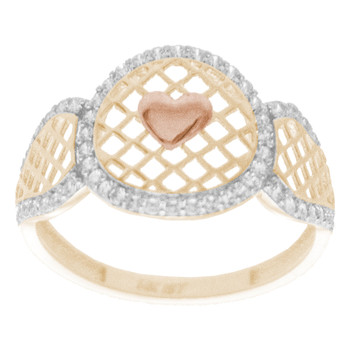 Yellow, Red & White  Gold Ring with CZ - 14 K - RGO264