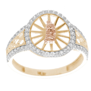 Yellow, Red & White  Gold Ring with CZ - 14 K - RGO265